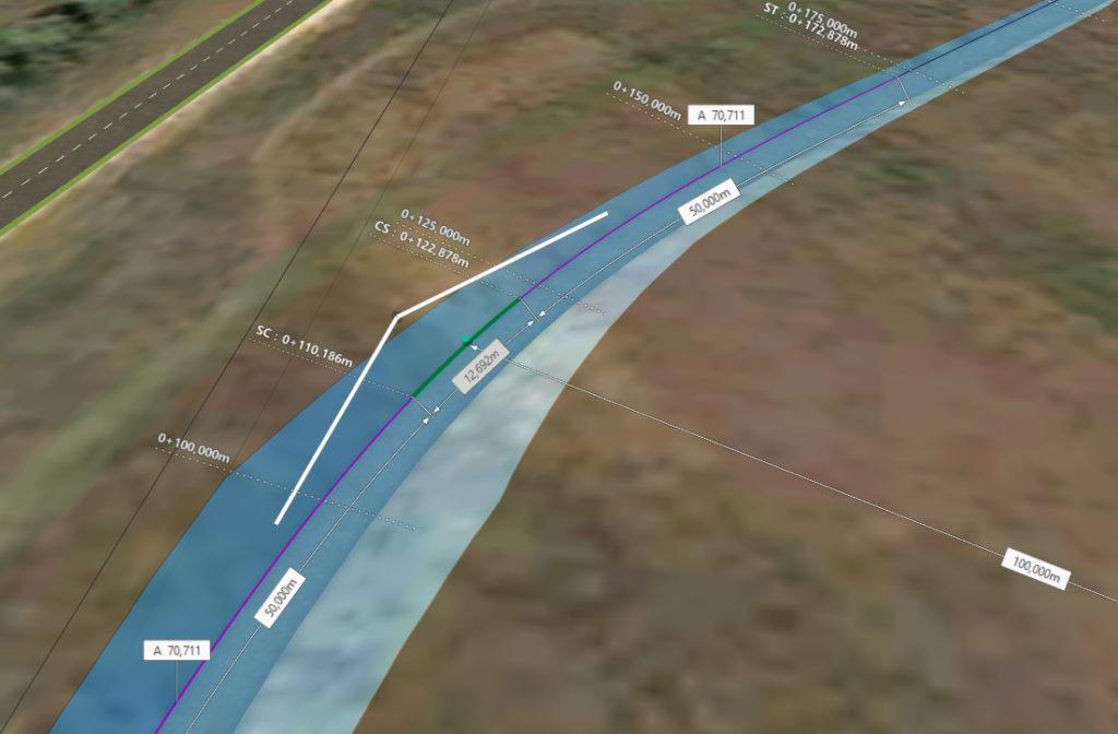 1. ábra A helyszínrajzi lekerekítő ív paraméterei és a szelvényezés megjelenítése.