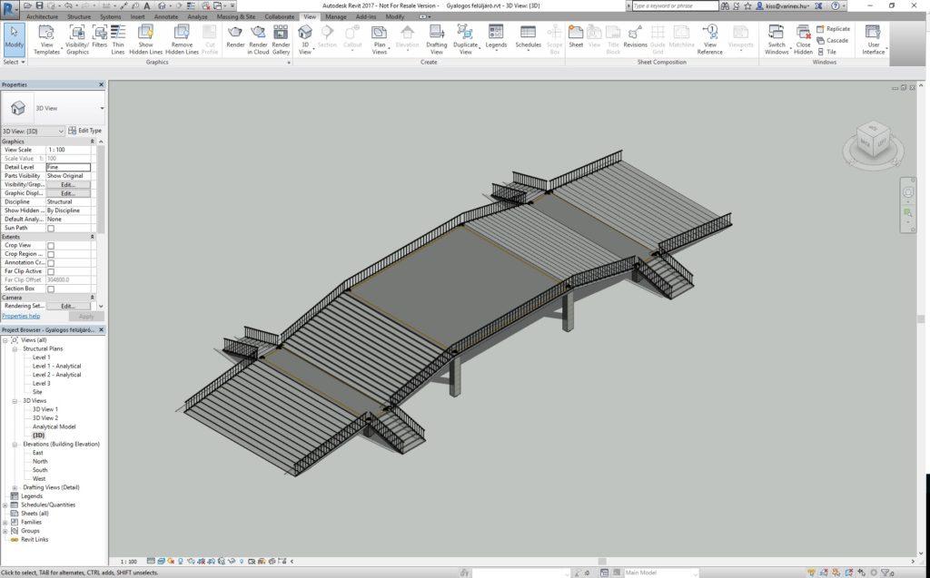 Az Autodesk Revit alkalmazásban felépített gyalogos felüljáró parametrikus modellje.