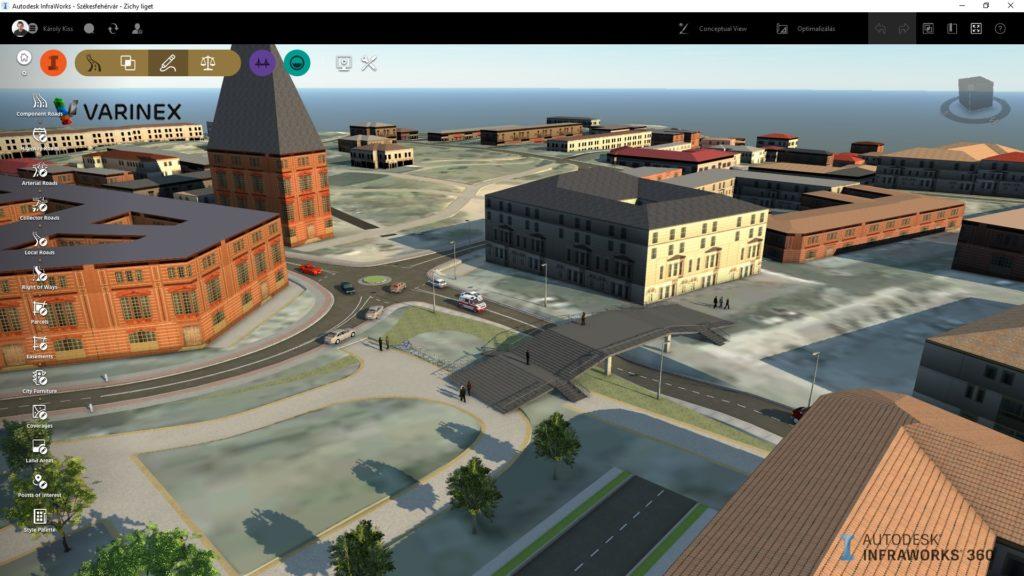 Az Autodesk Infraworks 360 felhasználói felülete és a modell, munka közben.