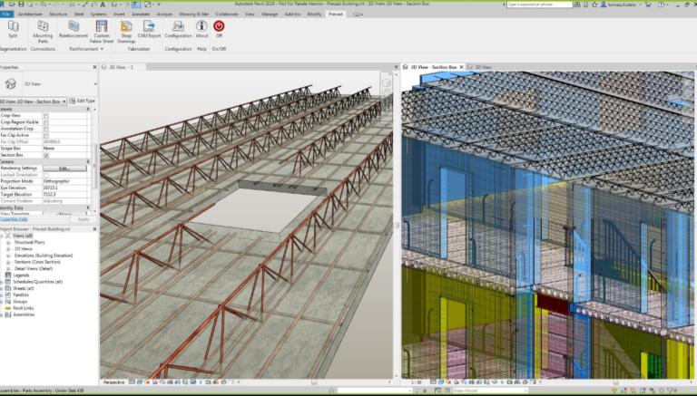 Revit 2019 - A Structural Precast for Revit lehetővé teszi a gerendalemezekre való szegmentációt és a vasalás hozzáadását.