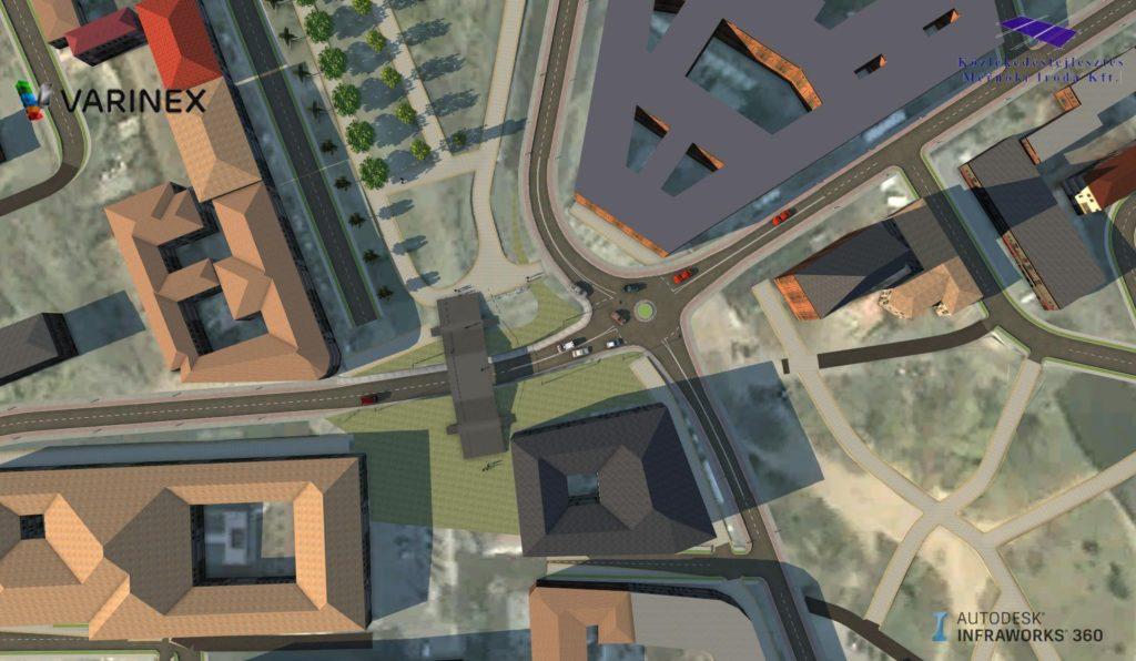 Az Autodesk Infraworks 360-ban felépített, BIM tervezési folyamatban felhasználható modell.