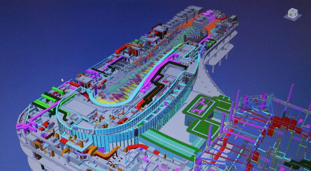 Koordinációs modell az Autodesk Navisworks alkalmazásban. A kép a China Construction Eighth Engineering Division Corp., Ltd. tulajdona.