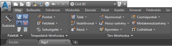 Civil 3D 2019  - Alap szalagmenü
