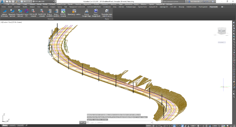 Ferrovia-val készített 3D modell Civil 3D platformon