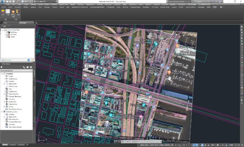 Open Street Map (OSM) adatok kombinálása Google Map ortofotóval
